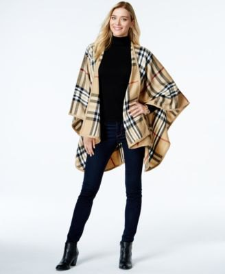 crepe and black plaid poncho sweater from matching sweater