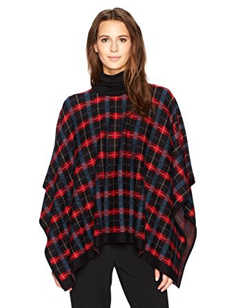 red and black checkered poncho mock neck sweater