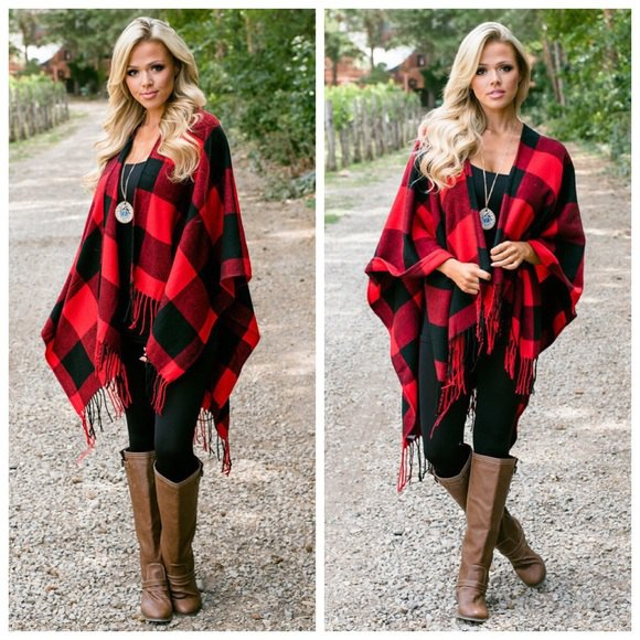 red and black checkered poncho leggings