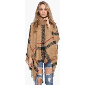 camel and black plaid turtleneck poncho ripped jeans