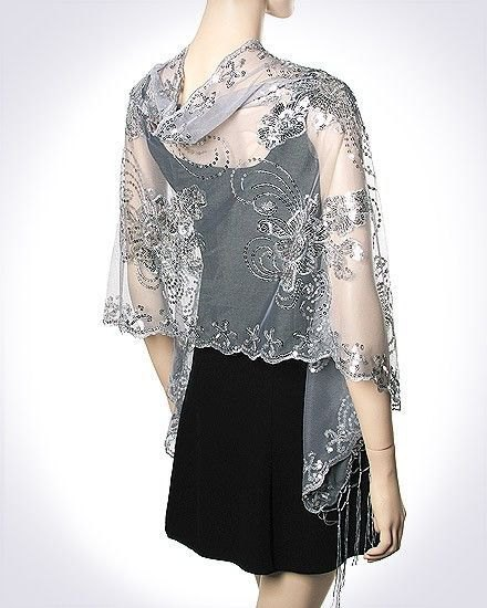silver lace embroidered shawl black shift dress