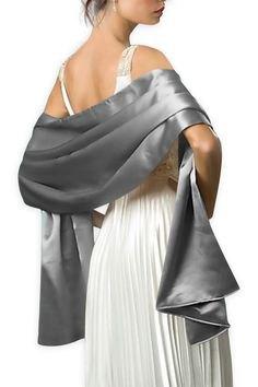 silver shawl white pleated maxi dress