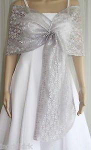 silver sheer white wedding dress
