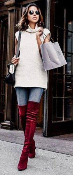 white sleeveless turtleneck sweater burgundy velvet over the knee boots