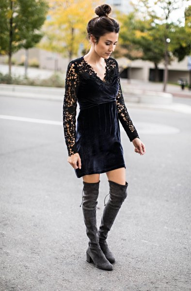 black lace mini dress gray velvet over the knee boots
