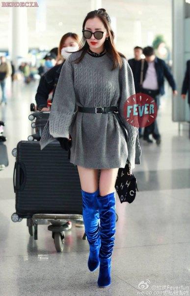 belt sweater dress blue velvet over the knee boots