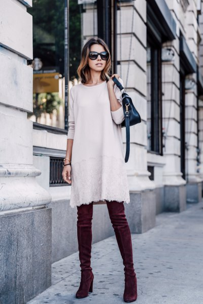 white sweater dress blue sweater thigh high heels boots