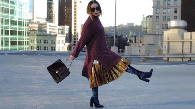 gold pleated metallic skirt black over the knee-velvet boots