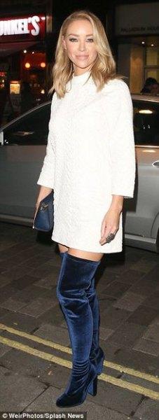 white long sleeve mock neck sweater dress navy velvet boots