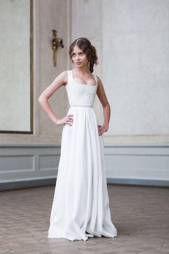 white corset dress retro