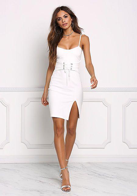 white corset dress at the waist