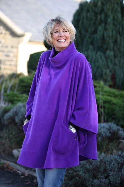 royal blue turtleneck fleece poncho