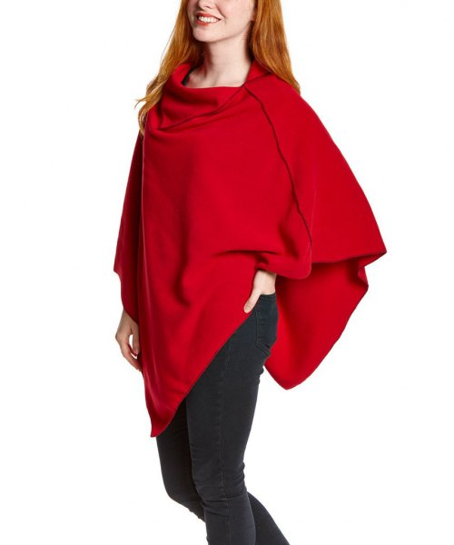 red fleece poncho black skinny jeans