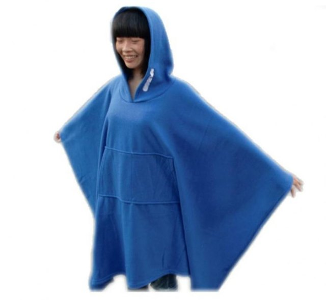 blue fleece hood poncho