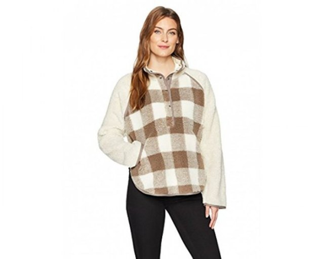 gray and white plaid fleece poncho black skinny jeans