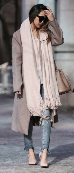 white cashmere scarf gray long wool coat