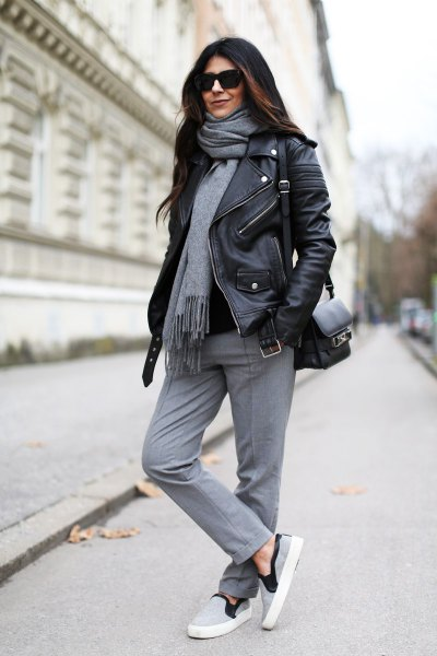 gray cashmere scarf black leather jacket