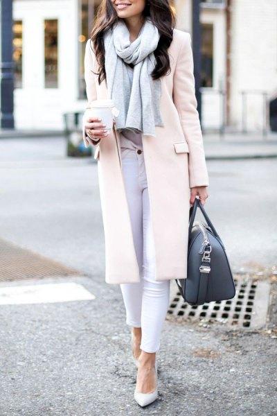 white long wool skirt skinny jeans