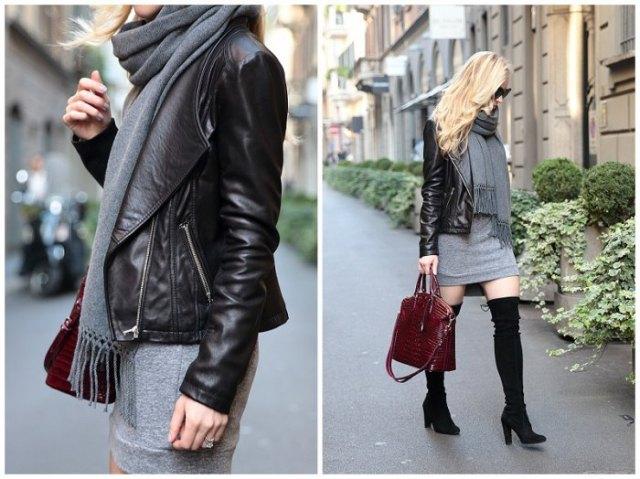 gray sweatshirt dress black leather jacket