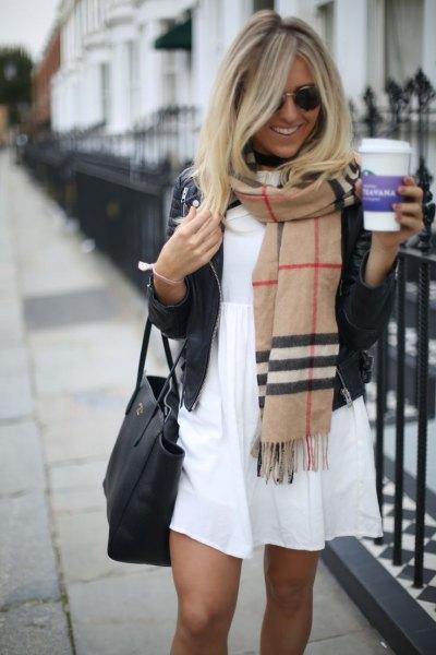 crepe cashmere scarf white babydoll mini dress