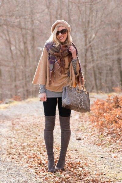 crepe cape plaid cashmere scarf