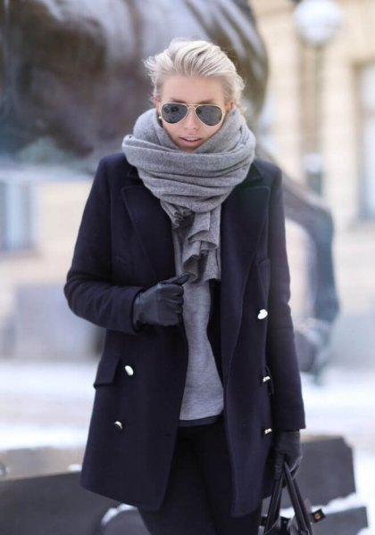 black long wool costs gray scarf
