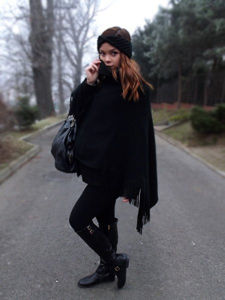 black fringed poncho skinny jeans boots