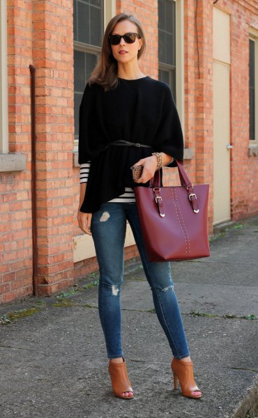 black poncho striped long sleeve tee