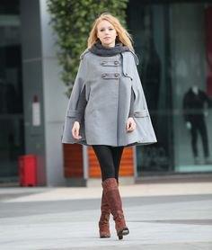 gray capes black leggings boots