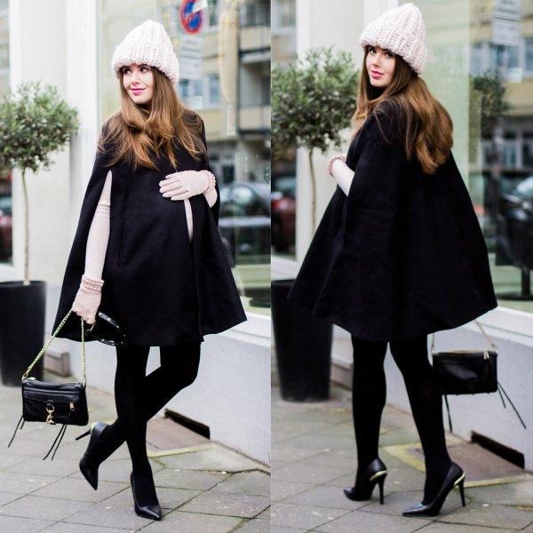 white long sleeve shape matching tee black coat