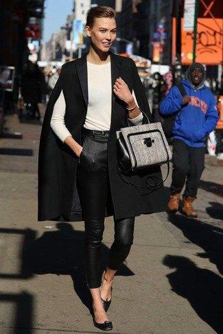 black coat white white leather pants