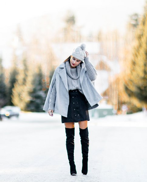 gray cape rock matching cable knitted sweater mini skirt