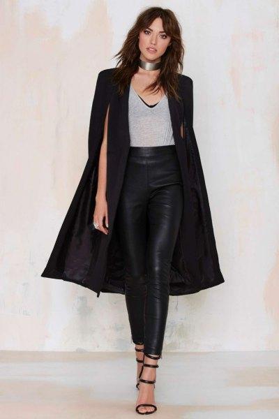 black long cape rock leather leggings silver choker