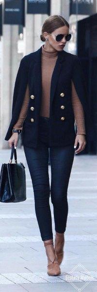 black cape rock crepe sweater