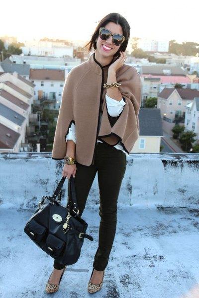 crepe rock black skinny jeans leopard print heels