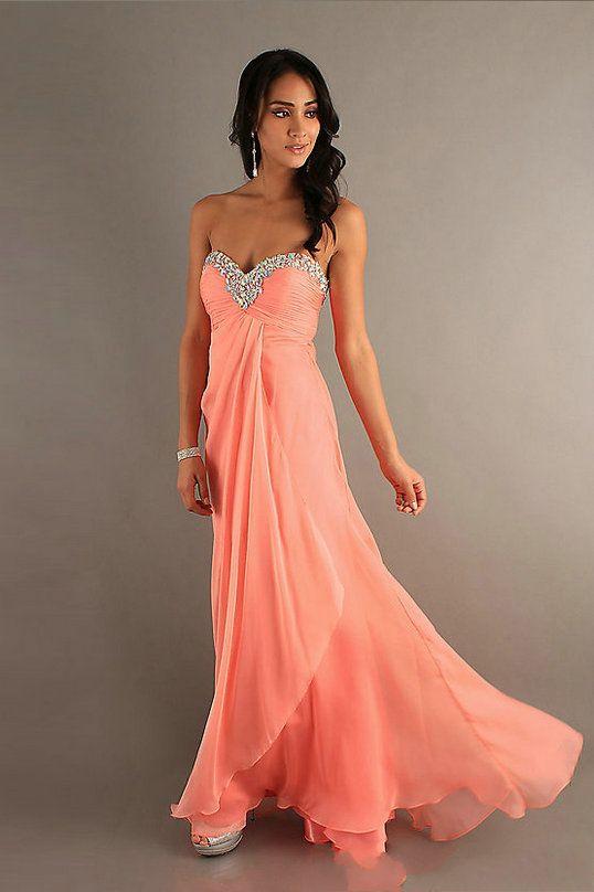 coral walk dress embellished at the bottom