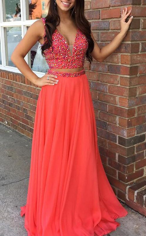 coral prom dress two together