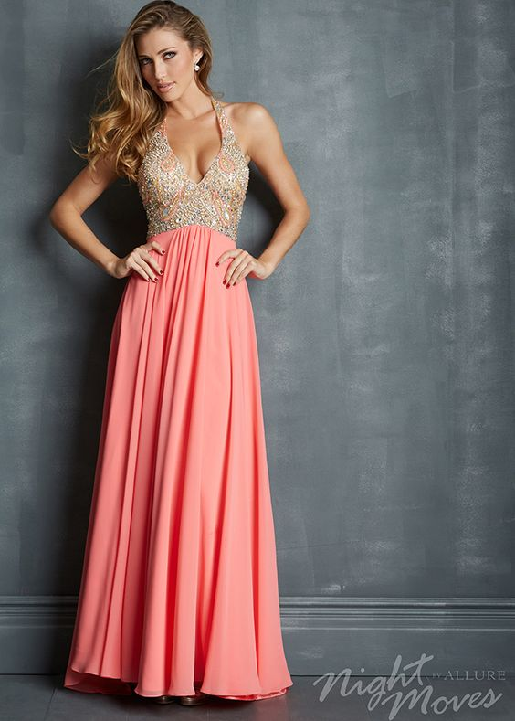 coral ball gown halter