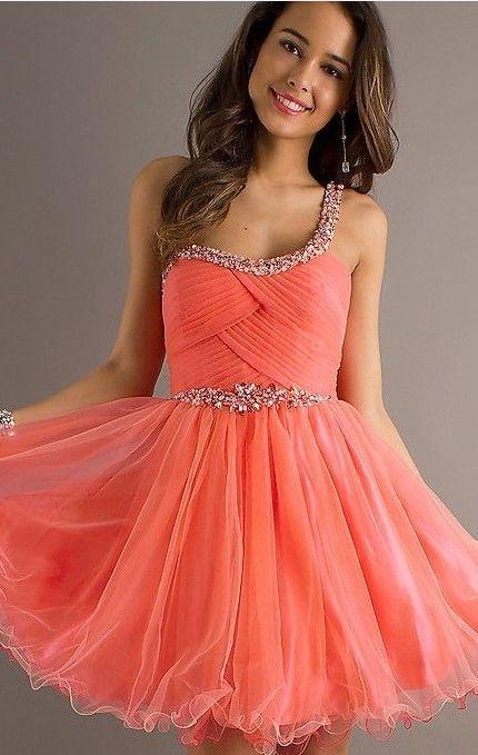 coral prom dress one shoulder