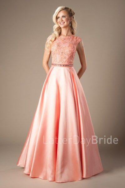 coral prom dress lace bodice
