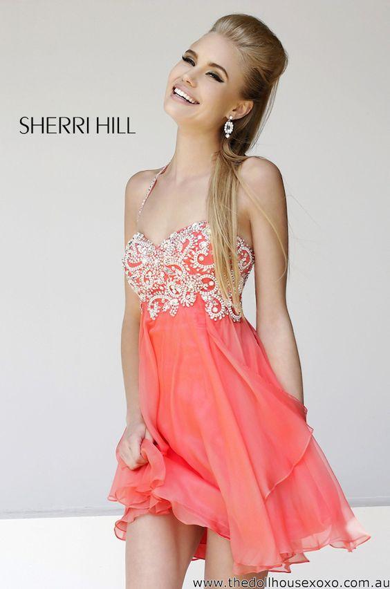 coral prom dress card