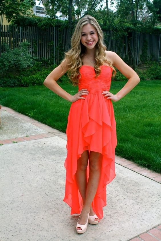 coral prom dress asymmetrical