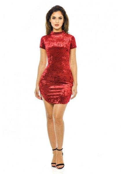 red mock neck velvet mini dress