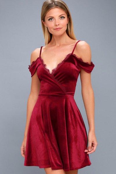 cold shoulder deep v-red velvet dress