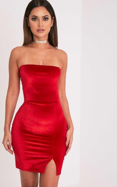red tube dress silver choker