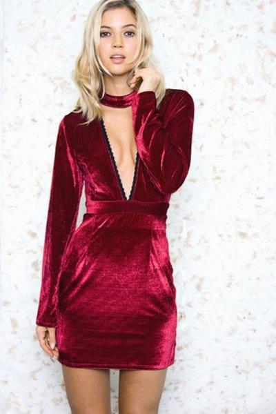 burgundy gathered waist deep v-neck velvet dress
