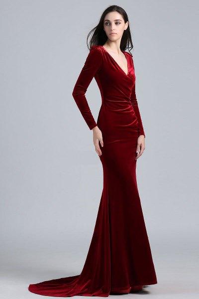 red mermaid velvet v-neck dress