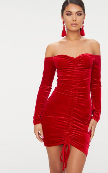 red darling tube dress separated long sleeves