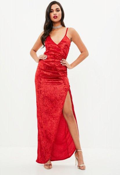 velvet cami high split dress