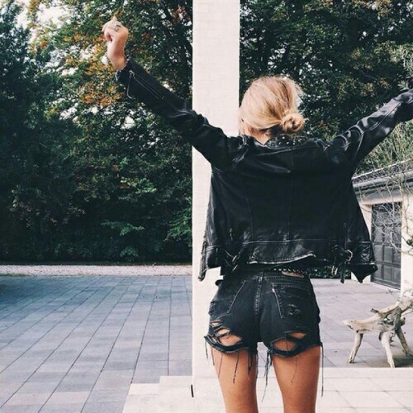 white tee black moto leather jacket